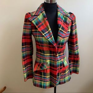 Vintage plaid blazer jacket puffy sleeves 8